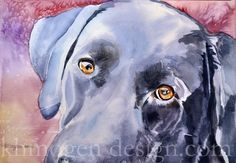 """""""these eyes"""" 11""""x 15""""  1/4 sheet watercolor $275.00 #black lab #pet portraits #watercolor paintings"""