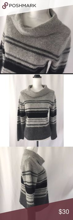 """-Rafaella- Gray Cowl Neck Angora Lambswool Sweater •Women's Size - Large •Beautiful Striped Angora & Lambswool Gray Sweater •Long Sleeve with Cowl Neckline •45% Angora Rabbit Hair; 40% Lambswool; 15% Nylon •Armpit to Armpit: 19.5"""" (laying flat) •Length: 23"""" (shoulder seam to hem) •Sleeve Length: 24"""" Condition:Excellent pre-owned condition; free of flaws Previously loved items will have some wear and signs of usage. Please email me with any questions. Thank you for looking…"""