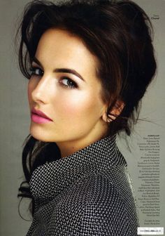 Camilla Belle - loving her pink lip and defined brows in this photograph.