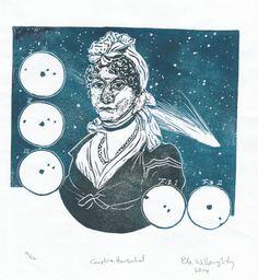 Linocut Portrait of Caroline Herschel Pioneering by minouette, $28.00