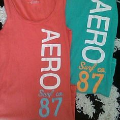 Super cute Aeropostale tank tops. Very good for summer or infact spring. One for you and one for a friend or keep them both for you!  The blue Is a small the orange Is a medium. Aeropostale Tops Tank Tops