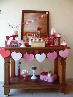 Valentine's Day party dessert table! See more party ideas at CatchMyParty.com!