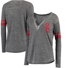 USC Trojans Women's Sage Long Sleeve Henley T-Shirt - Charcoal