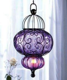 Purple Bohemian Handblown Glass Lantern - Includes Chain & Hook - LED battery - No Wiring! Purple Love, All Things Purple, Purple Glass, Shades Of Purple, Led Tea Lights, Home And Deco, Moroccan Style, My New Room, Bohemian Decor