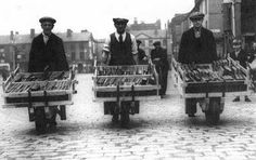 These three workers were employed to move book stock from the old Victoria Square library to the newly completed building on Le Mans Crescent in 1938 (now the home of Bolton Public Library). We wi… Old Libraries, Little Free Libraries, 3 Lions, Wolf Tattoo Sleeve, Mobile Library, Beautiful Library, Kids Series, Shandy, Inspirational Books