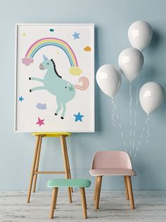 Free Printable for kids bedroom / playroom - Unicorn & Rainbow Poster.  with love from 9instyle Magazine