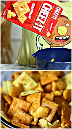 We're Addicted to This Dill & Cheese Cracker Mix! thegoodstuff is part of Cracker snacks - This is the easiest Dill & Cheese Cracker Mix recipe ever — and we're so addicted to how amazing it tastes! Snack Mix Recipes, Appetizer Recipes, Cooking Recipes, Snack Mixes, Crowd Recipes, Dishes Recipes, Cooking Games, Salty Snacks, Yummy Snacks