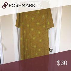 Lularoe Julia (never worn) Gold yellow pencil dress with purple dandelion kind of pattern. LuLaRoe Dresses