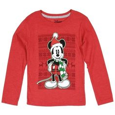 Mickey Mouse Boys Long Sleeve Top-All Sizes Available Colors: Red Size: Breakdown: Label: Disney Composition: Cotton Polyester Mickey Mouse Christmas, Christmas Tops, Santa Christmas, Christmas Morning, Mickey Mouse Outfit, Disney Mickey Mouse, Minnie Mouse, Disney Shirts, Disney Outfits