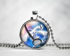 "Lugia Legendary Pokeball Pendant Pokemon Jewelry Pokeball Charm Necklace with 24"" Ball Chain"
