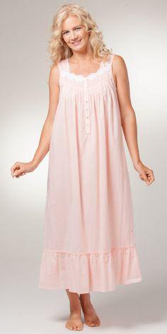 Eileen West Cotton Lawn Sleeveless Long Nightgown in Savannah Peach