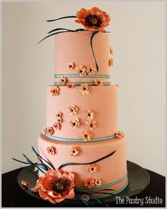 Peach blossom wedding cake