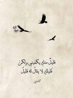 بلاغة المتنبي جمييلة *•* a little of you is enough for me but your little can't be called little :)