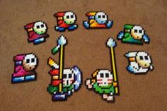 Perler Shy Guy Collection by Pika-Robo on DeviantArt Hamma Beads 3d, Pearler Beads, Fuse Beads, Pearler Bead Patterns, Perler Patterns, Mario Crafts, Perler Bead Mario, Pixel Art Templates, Pixel Pattern