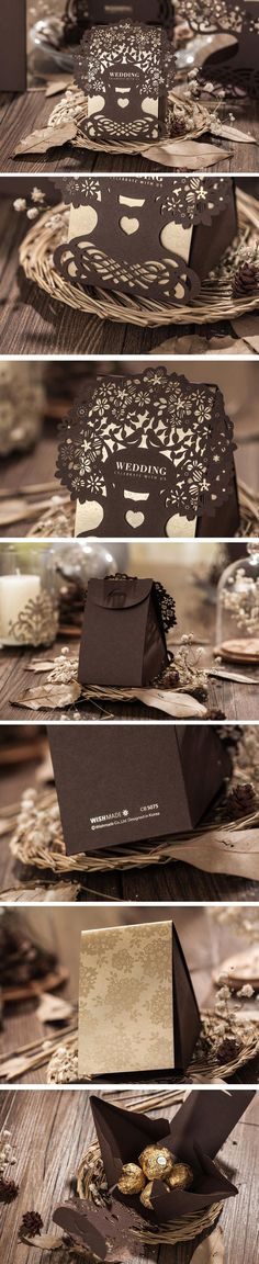 Chocolate Color Love Tree Laser Cut Wedding Favor Boxes Wedding Candy Box Bridal Shower Favor Box Party Decor