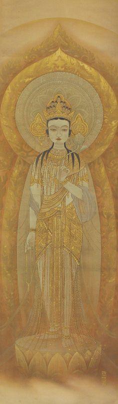 Japanese Buddhist Fine Art Painting Wall Hanging Scroll Golden Eleven-Headed Kannon Goddess of Mercy Kakejiku – 140226