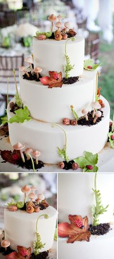 tiered cake with leaves and toadstools from the forest floor