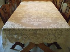 {Early Antique French Tablecloth in Crocheted Roses} Oak Table, Wooden Tables, Dining Table, Crochet Puff Flower, Crochet Flowers, Green Tablecloth, Elegant Table Settings, Altar Cloth, French Oak