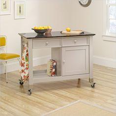 Sauder Original Cottage Kitchen Cart Mobile Islandgrey