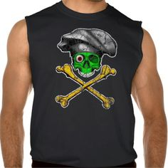 Zombie Chef Skull v15 Sleeveless T-shirt. Green zombie half skull and crossbones wearing black, pleated chef hat in grunge / distressed style design