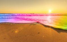 Rainbow Beach Waves Wallpaper