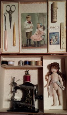 Presentation sewing box with doll