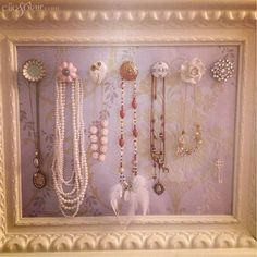 How to organize your necklaces on a pretty frame - click for instructions! (Diy Necklace Rack)