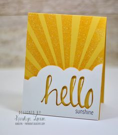 handmade greeting card from Avery Elle: Hello Sunshine & Lucky ... negative space HELLO in a cloud shaped panel ...stamped sunrays ... luv this cheerful look ...