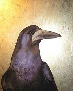 painting of a rook, watercolour and gold leaf, Jackie Morris