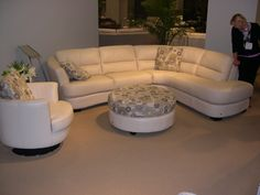 HTL Leather - Sectional, chair, round ottoman and accent pillows. Las Vegas Furniture Market, Round Ottoman, Ottoman, Portland Furniture, Furniture Store, Furniture, Home Furniture, Sectional Couch, Leather Sectional