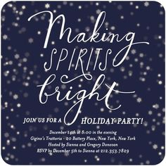 Flat Holiday Party Invitations Brightly Spirited - Front : Baltic