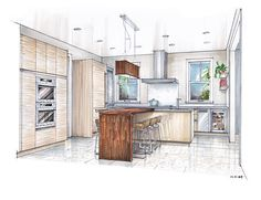 sketch drawing of a kitchen with island - Google Search