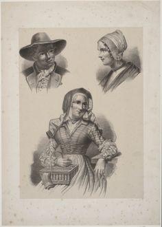 Drie portretten in Noord-Hollandse streekdracht1845-1855 kunstschilder:   Braet von Überfeldt, Jan #NoordHolland