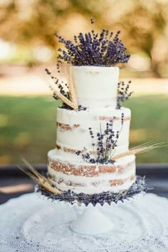 Lavender and Wheat wedding cake