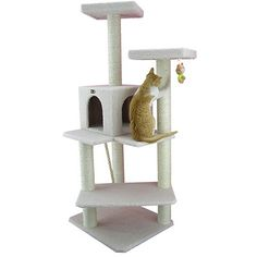 Tired of your cats roaming around scratching up your good furniture? This lovely beige cat tree house condo provides the perfect place for cats as well as other pets to climb, scratch, play, and sleep without damaging your expensive furniture. Cat Trees Cheap, Cool Cat Trees, Cool Cats, Tree Furniture, Condo Furniture, Large Cat Tree, Cat Climber, Cat Tree House, Cat Supplies