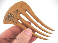 Cherry wood hair fork with butterfly