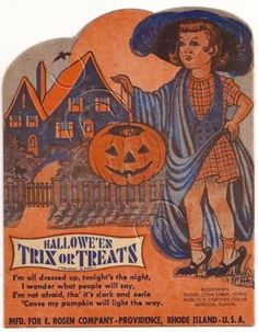 """Rosen ~ Halloween Lollipop Candy Card Holder Cardboard candy holder was made by Rosen of Rhode Island in the It features a little girl """"all dressed up"""" for Halloween. Retro Halloween, Halloween Candy, Holidays Halloween, Halloween Pumpkins, Happy Halloween, Halloween Stuff, Halloween Poems, Halloween Labels, Haunted Halloween"""