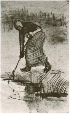 Vincent van Gogh Drawing, Pen, washed Nuenen: August - late in month, 1885 Kröller-Müller Museum Otterlo, The Netherlands, Europe F: 1292, JH: 882 Image Only - Van Gogh: Peasant Woman, Standing near a Ditch or Pool