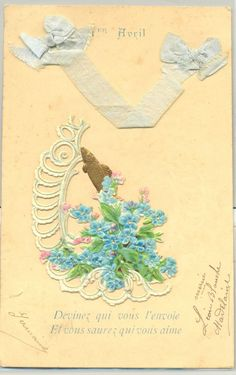 MN189 1er AVRIL APRIL FOOLS CHROMO Découpis POISSON RUBAN MYOSOTIS Gaufrée Embos
