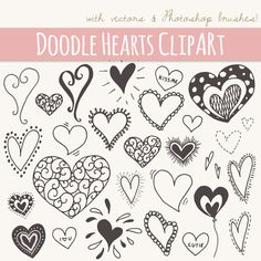 Doodle Hearts Clip Art // DIY Invitations Cards by thePENandBRUSH