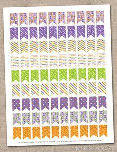 Purple Orange & Green Halloween Patterned Flags Planner Stickers Instant Download DIY Printable PDF