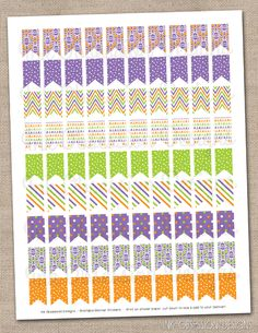 Purple Orange & Green Halloween Patterned Flags Planner Stickers Instant Download DIY Printable PDF