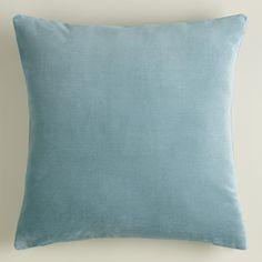 Steel Blue Velvet Throw Pillow | World Market