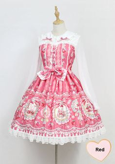 Neverland Lolita -The Rabbits' Strawberry Garden- Long Sleeves Peter Pan Collar Lolita OP Dress