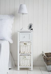 25cm Wide Narrow Bedside Table In White Small Slim