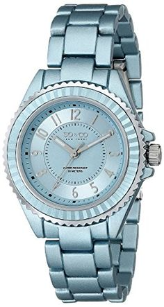 Women's Wrist Watches - SOCO New York Womens 50361 SoHo Quartz Light Blue Alloy Link Bracelet Watch *** Details can be found by clicking on the image.