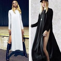 Womens ladies Casual Side High Slits Tee Long Top Maxi Dress T-shirt Split Top