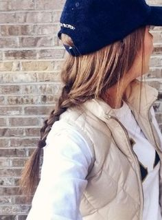 Baseball hat with a braid! Great way to catch your favorite sports team. Your tomboy is showing
