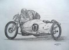 Eddy Meier, Arpajon, France, 1925 attempting a sidecar  land speed record. 11x14, graphite pencil, mar 14, 2015.