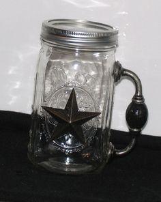 Cowgirl Cocktail REDNECK Cowboy Chugger Beer Mug for Good Ole Boys mason canning jar TEXAS Star w/ Handle. y.